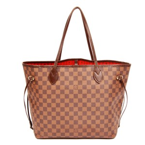 Louis Vuitton Neverfull Mm Damier Canvas Leather Tote