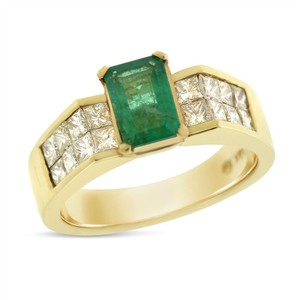 Other 2.18 Ct. Natural Diamond & Emerald Invisible Engagement Ring Solid 14k