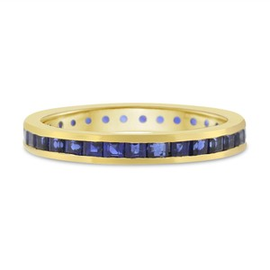 Other 1.00 Ct. Natural Sapphire Eternity Band Channel Set Princess Cut 14k