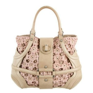Alexander McQueen Embroidered Leather Silver Hardware Satchel in Tan & Pale Rosey Pink