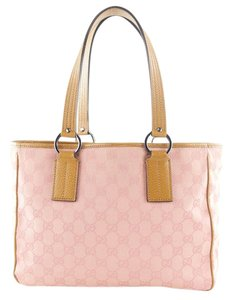 Gucci Gg Leather Trim Open Tote in Pink