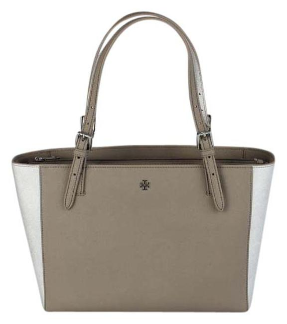 Item - York Buckle French Gray/Metallic Silver Leather Tote