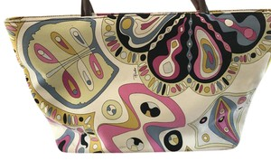 Emilio Pucci Canvas Color Tote in Pink And Multi Colored