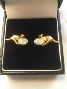 Natural Opal Solid Yellow Gold Kangaroo Earrings From Australia