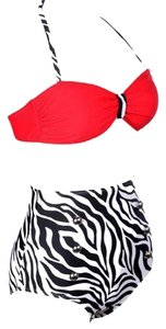 New's Red Top Pin up High-waisted Bikini Swimwear Size:S Item No. : LC40647-4