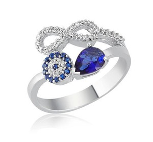9.2.5 Very unique sapphire love knot evil eye ring size 6