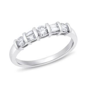 0.50 Ct. Natural Diamond Baguette & Rounds Wedding Band In Solid 14k