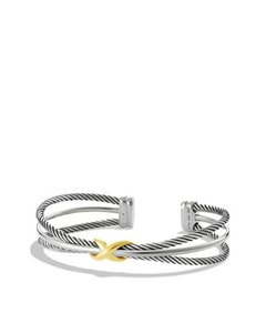 David Yurman 3 Line X Crossover Bracelet with 18k Gold (Medium)