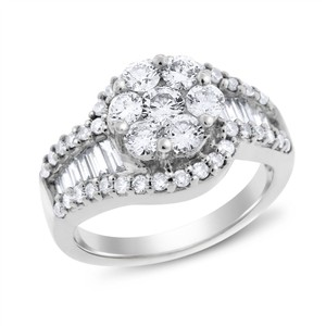 Other 1.40 Ct. Natural Diamond Flower Swirl Designed Ring In Solid 14k White
