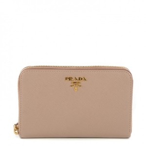 Prada Prada Metal Oro Beige Saffiano Small Zip Around Wallet