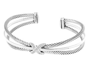 David Yurman 3 Line Diamond X Crossover Cuff Bangle 7mm (Medium)