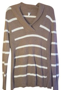 Old Navy Tan and White Striped Cowl Neck Long Sleeve Sweater