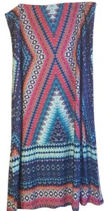New York Clothing Company Maxi Skirt Pink Orange Blue Cream