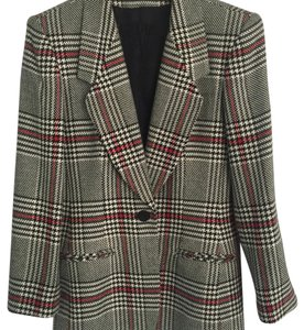 Evan Picone Black/White/Red Plaid Blazer