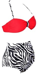 FREE SHIPPING New's Red Top Pin Up High-Waisted Bikini Swimwear Size:L Item No. : Lc40647-4