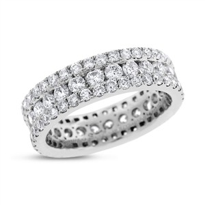 Other 2.81 Ct. Natural Diamond 3 Row Eternity Wedding Band Solid 18k White