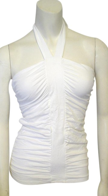 Item - White Ruched Front Seams Bodycon Halter Top Size 4 (S)