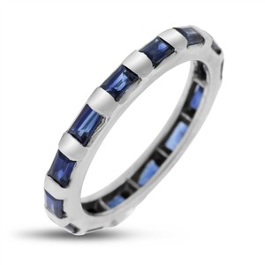 Other 1.40 Ct. Natural Emerald Cut Sapphire Bar Eternity Band In Solid 18k