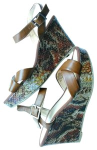 Mossimo Supply Co. Leather Faux Snakeskin Brown Wedges