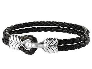 David Yurman Mens Chevron Double-Wrap Woven Leather Bracelet