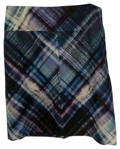 La Via 18 Piazza Sempione Plaid Skirt Teal Plaid