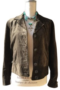 Ralph Lauren Olive Brown Leather Jacket