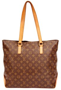 Louis Vuitton Cabas Mezzo Leather Gold Hardware Tote in Brown