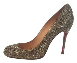 Christian Louboutin Crystal Pigalle Metallic light gold Pumps