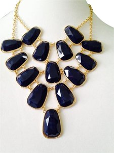 Amrita Singh Faceted Navy Blue Bib Statement Necklace