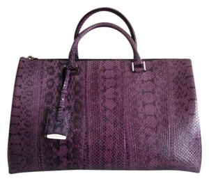Jil Sander Snakeskin Patent Leather Silver Hardware Chic Satchel in Purple Snakeskin