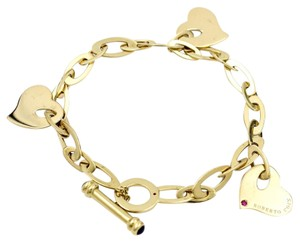 Roberto Coin Roberto Coin 3 Hearts Ruby and Sapphire Toggle Bracelet in 18k Gold