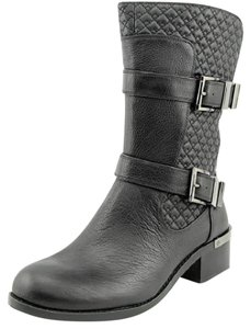 Vince Camuto Silver Motorcycle Midcalf Black Boots