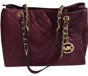 Michael Kors Leather Tote in Merlot/Gold