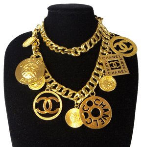 Chanel MASSIVE XL CHARM NECKLACE BELT VINTAGE GOLD COIN MEDALLION CHAIN CC