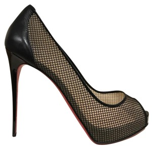 Christian Louboutin Very Rete Stiletto Leather Mesh black Pumps
