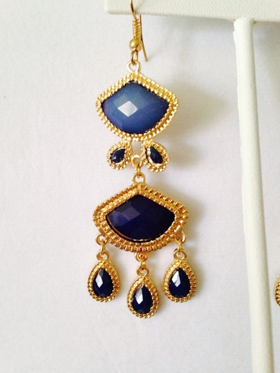 My Closet- Embellished by Leecia Shades Of Blue Chandelier Earrings