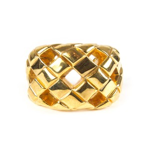 Chanel RARE BRACELET CUT OUT QUILTED VINTAGE CUFF - GOLD WIDE BANGLE CC WOVEN