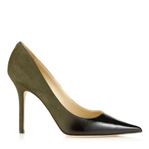 Jimmy Choo black patent military suede Pumps