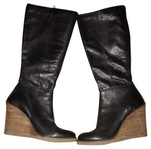 Lucky Brand Black Leather Wedge Boots