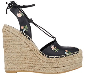Saint Laurent Floral Espadrille Leather New Heels Black Wedges