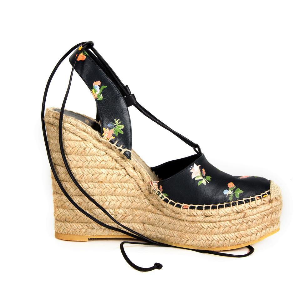 52ee72cfc546 Saint Laurent Floral Espadrille Leather New Heels Black Wedges Image 8.  123456789