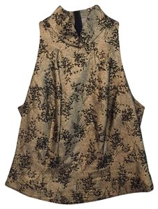 Carmen Marc Valvo Top black beads on a metallic gold colored fabric