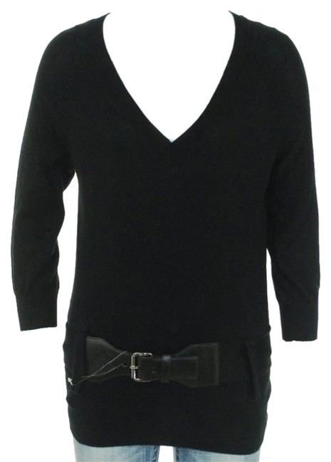Preload https://item2.tradesy.com/images/michael-michael-kors-15-off-black-belted-v-neck-sweaterpullover-size-petite-8-m-2047616-0-0.jpg?width=400&height=650