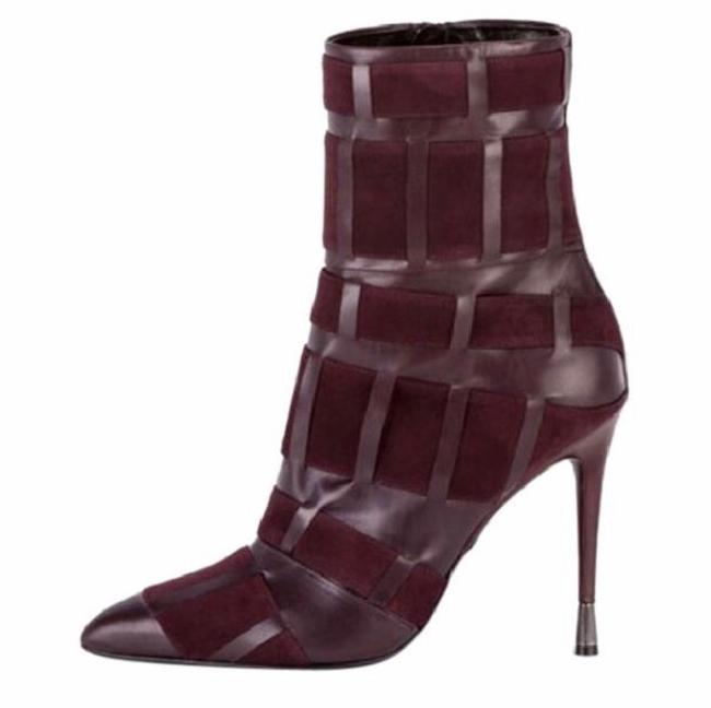 Tom Ford Red Purple Woven Leather 105mm Wine Color Boots/Booties Size US 6.5 Regular (M, B) Tom Ford Red Purple Woven Leather 105mm Wine Color Boots/Booties Size US 6.5 Regular (M, B) Image 1