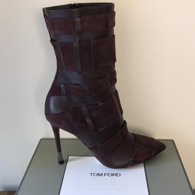 Tom Ford Red Purple Woven Leather 105mm Wine Color Boots/Booties Size US 6.5 Regular (M, B) Tom Ford Red Purple Woven Leather 105mm Wine Color Boots/Booties Size US 6.5 Regular (M, B) Image 2