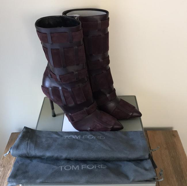 Tom Ford Red Purple Woven Leather 105mm Wine Color Boots/Booties Size US 6.5 Regular (M, B) Tom Ford Red Purple Woven Leather 105mm Wine Color Boots/Booties Size US 6.5 Regular (M, B) Image 3