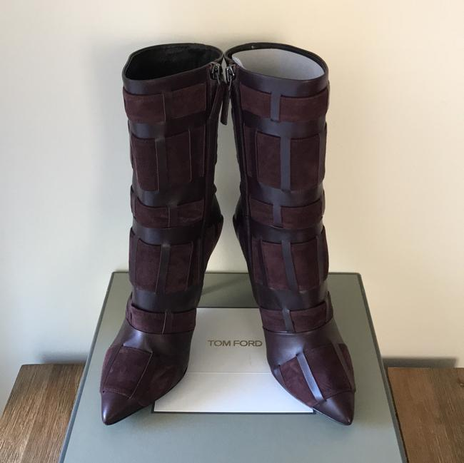 Tom Ford Red Purple Woven Leather 105mm Wine Color Boots/Booties Size US 6.5 Regular (M, B) Tom Ford Red Purple Woven Leather 105mm Wine Color Boots/Booties Size US 6.5 Regular (M, B) Image 4