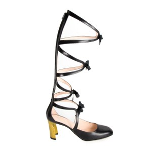 Gucci Pearl Gladiator Bamboo Bow Black Sandals