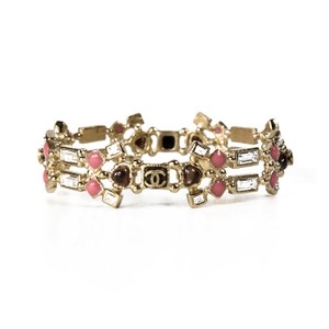 Chanel BRACELET - CRYSTAL GLASS GRIPOIX PINK BANGLE CUFF GOLD PEARL CC 12P