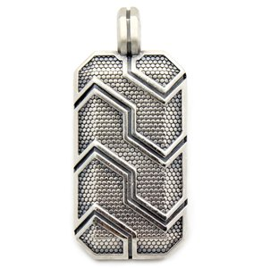 David Yurman David Yurman Men's 41mm Forged Carbon Dog Tag Pendant in Silver